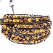 Handmade-Natural-Grade-AAA-Tiger039s-Eye-Gemstone-Beads-Wrap-Leather-Bracelet-281324380807-f093