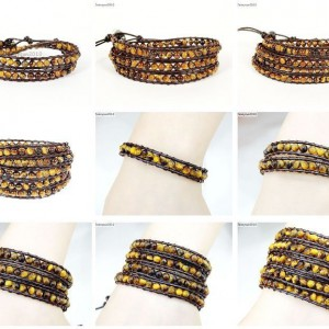 Handmade-Natural-Grade-AAA-Tigers-Eye-Gemstone-Beads-Wrap-Leather-Bracelet-281324380807
