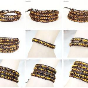 Handmade-Natural-Grade-AAA-Tigers-Eye-Gemstone-Beads-Wrap-Leather-Bracelet-281324380807
