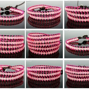 Handmade-Natural-Rose-Quartz-Gemstone-Beads-Wrap-Leather-Bracelet-Healing-Reiki-261999868901