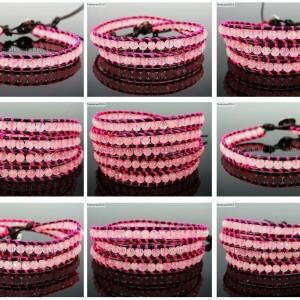 Handmade-Natural-Rose-Quartz-Gemstone-Beads-Wrap-Leather-Bracelet-Healing-Reiki-261999868901