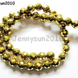 Hematite-Gemstone-Faceted-Round-Ball-Beads-16-Gold-2mm-3mm-4mm-6mm-8mm-10mm-261172469146