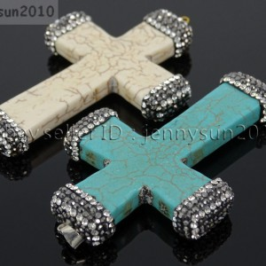 Howlite-Turquoise-Czech-Crystal-Rhinestones-Cross-Pendant-Charm-Beads-White-Blue-262161692588