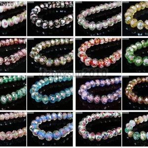 Lampwork-Glass-Interior-Rose-Flower-Faceted-Rondelle-Spacer-Loose-Beads-Charms-281423036156