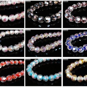 Lampwork-Glass-Interior-Rose-Flower-Faceted-Round-Spacer-Loose-Beads-Charms-New-281428981736