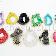 Large-Natural-Druzy-Quartz-Agate-Geode-Sliced-Pendant-Charm-Beads-Gold-Necklace-261851410079