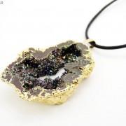 Large-Natural-Druzy-Quartz-Agate-Geode-Sliced-Pendant-Charm-Beads-Gold-Necklace-261851410079-427e