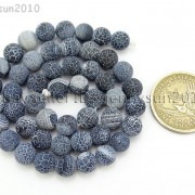 Matte-Frosted-Black-Fire-Crackle-Agate-Gemstones-Round-Beads-15quot-6mm-8mm-10mm-262198152811-e0c2