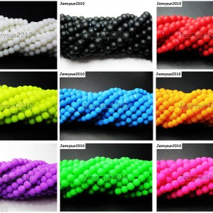 Matte-Neon-Frosted-Glass-Round-Spacer-Beads-Long-Strand-4mm-6mm-8mm-10mm-12mm-261181684301