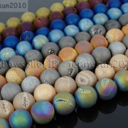Metallic-Titanium-Coated-Druzy-Quartz-Agate-Gemstones-Round-Beads-15-8mm-10mm-262198159740-2