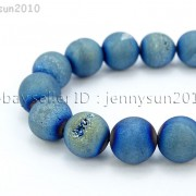 Metallic-Titanium-Coated-Druzy-Quartz-Agate-Gemstones-Round-Beads-15quot-8mm-10mm-262198159740-180f