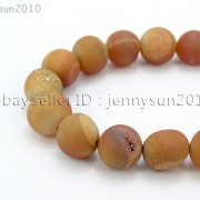 Metallic-Titanium-Coated-Druzy-Quartz-Agate-Gemstones-Round-Beads-15quot-8mm-10mm-262198159740-34a7
