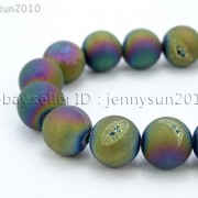 Metallic-Titanium-Coated-Druzy-Quartz-Agate-Gemstones-Round-Beads-15quot-8mm-10mm-262198159740-967c