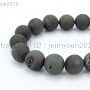 Metallic-Titanium-Coated-Druzy-Quartz-Agate-Gemstones-Round-Beads-15quot-8mm-10mm-262198159740-9e6d
