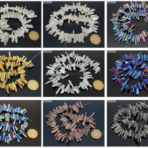 Metallic-Titanium-Coated-Natural-Quartz-Crystal-Stick-Spike-Pointed-Beads-16-261878561114