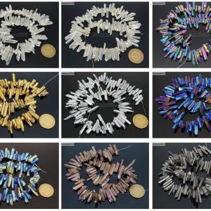 Metallic-Titanium-Coated-Natural-Quartz-Crystal-Stick-Spike-Pointed-Beads-16-261878561114