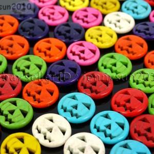 Mix-Color-Howlite-Turquoise-Gemstone-15mm-Halloween-Jack-O-Lantern-Beads-15-281174087029