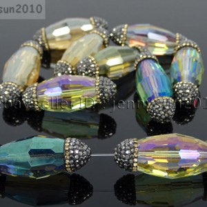 Multi-Colored-Crystal-Faceted-Long-Olivary-Spacer-Charm-Beads-Czech-Rhinestones-371501067279
