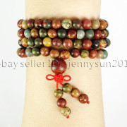 Natural-6mm-Gemstone-Buddhist-108-Beads-Prayer-Mala-Stretchy-Bracelet-Necklace-371631549219-34d1