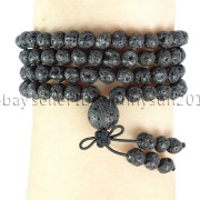 Natural-6mm-Gemstone-Buddhist-108-Beads-Prayer-Mala-Stretchy-Bracelet-Necklace-371631549219-6c47