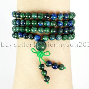 Natural-6mm-Gemstone-Buddhist-108-Beads-Prayer-Mala-Stretchy-Bracelet-Necklace-371631549219-7353