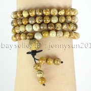 Natural-6mm-Gemstone-Buddhist-108-Beads-Prayer-Mala-Stretchy-Bracelet-Necklace-371631549219-8296