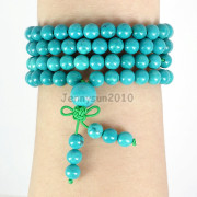 Natural-6mm-Gemstone-Buddhist-108-Beads-Prayer-Mala-Stretchy-Bracelet-Necklace-371631549219-bc31