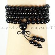 Natural-6mm-Gemstone-Buddhist-108-Beads-Prayer-Mala-Stretchy-Bracelet-Necklace-371631549219-ce00
