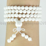 Natural-6mm-Gemstone-Buddhist-108-Beads-Prayer-Mala-Stretchy-Bracelet-Necklace-371631549219-ee66