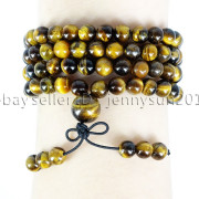 Natural-6mm-Gemstone-Buddhist-108-Beads-Prayer-Mala-Stretchy-Bracelet-Necklace-371631549219-f34f