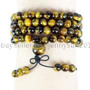 Natural-6mm-Gemstone-Buddhist-108-Beads-Prayer-Mala-Stretchy-Bracelet-Necklace-371631549219-f34f