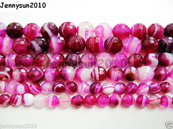 Natural-Agate-Gemstone-Faceted-Round-Beads-155-6mm-8mm-10mm-Pink-With-Stripe-251109293431