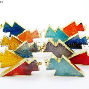 Natural-Agate-Sliced-Arrowhead-Pointed-Healing-Pendant-Charm-Beads-18K-Gold-Edge-281735995028