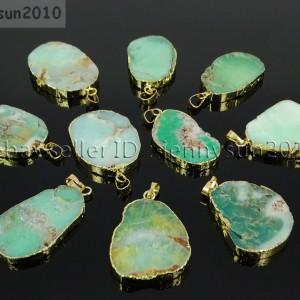 Natural-Australian-Chrysopra-Gemstone-Nugget-Sliced-Necklace-Pendant-Charm-Gold-281944749451