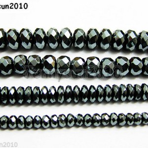 Natural-Black-Jet-Hematite-Gemstone-Rondelle-Spacer-Beads-16-4mm-6mm-8mm-10mm-261042730560