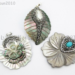 Natural-Black-Mother-Of-Pearl-Shell-Crystal-Rhinestones-Pendant-Charm-Beads-371586448115