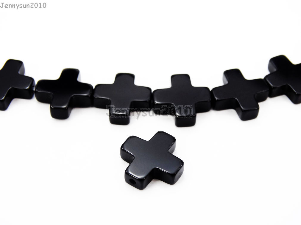 Natural black onyx gemstone cross bracelet necklace