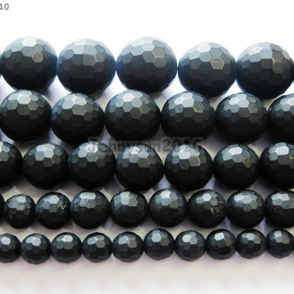 Natural-Black-Onyx-Gemstone-Faceted-Round-Beads-Matte-155-6mm-8mm-10mm-12mm-261298038707