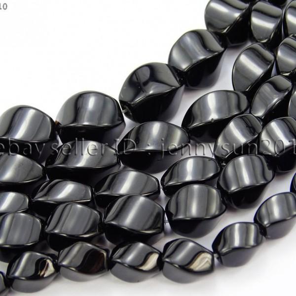 Natural-Black-Onyx-Gemstone-Swirl-Twisted-Drum-Beads-155-6mm-8mm-10mm-12mm-370954100492
