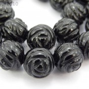 Natural-Black-Onyx-Gemstones-Hand-Carved-Round-Flower-Beads-15-10mm-12mm-14mm-281102762287