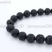 Natural-Black-Onyx-Gemstones-Hand-Carved-Round-Flower-Beads-15-10mm-12mm-14mm-281102762287-2