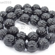 Natural-Black-Onyx-Gemstones-Hand-Carved-Round-Flower-Beads-15-10mm-12mm-14mm-281102762287-3