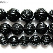 Natural-Black-Onyx-Gemstones-Hand-Carved-Round-Flower-Beads-15-10mm-12mm-14mm-281102762287-4