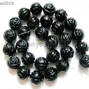 Natural-Black-Onyx-Gemstones-Hand-Carved-Round-Flower-Beads-15039039-10mm-12mm-14mm-281102762287-44a1