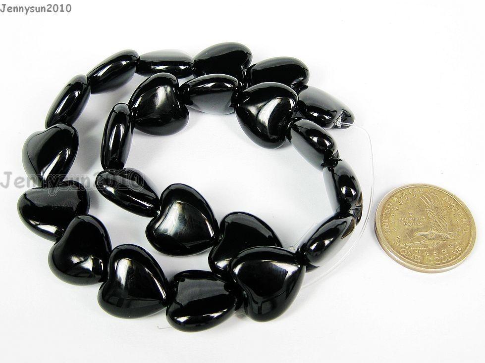 10 Heart Beads Onyx Black Glass Heart Pendant 14mm BD1510