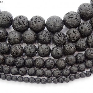 Natural-Black-Volcanic-Lava-Gemstone-Round-Beads-155-4mm-6mm-8mm-10mm-12mm-370966396242