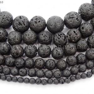 Natural-Black-Volcanic-Lava-Gemstone-Round-Beads-155-4mm-6mm-8mm-10mm-12mm-370966396242