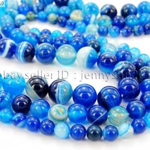 Natural-Blue-Agate-Gemstone-Stripe-Round-Beads-155-Strand-6mm-8mm-10mm-12mm-261069846053