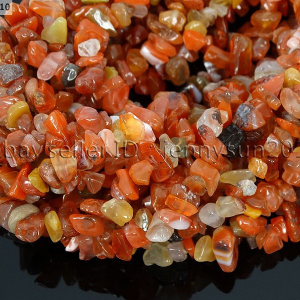 Natural-Carnelian-Gemstone-5-8mm-Chip-Nugget-Beads-35-Bracelet-Necklace-Design-370877466753