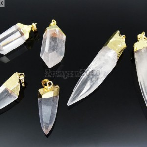 Natural-Crystal-Quartz-Rock-Gemstone-Hexagonal-Spear-Pointed-Pendant-Charm-Gold-281668028311